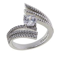 Absolute™ 1.16ctw CZ Sterling Silver Round and Pavé Bypass Ring
