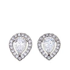 Absolute™ 1.19ctw Pear and Pavé CZ Silver Stud Earrings
