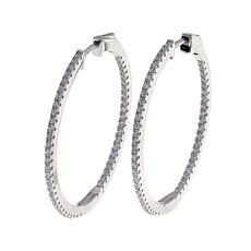 Absolute™ 1.29ctw CZ Inside-Outside 35mm Hoop Earrings