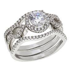 Absolute™ 1.40ctw CZ  Round with Marquise Design 3-piece Ring Set