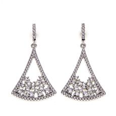 Absolute™ 1.41ctw Cubic Zirconia Geometric Cluster Drop Earrings