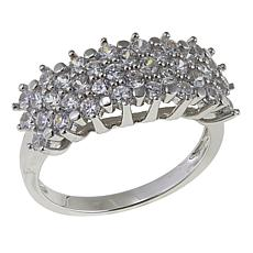 Absolute™ 1.41ctw CZ Sterling Silver Triple-Row Cluster Ring
