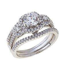 Absolute 1.49ctw Cubic Zirconia Round Halo 3pc Ring Set