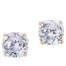 Absolute™ 14K 6.5ctw Cubic Zirconia 88-Facet Cushion Stud Earrings