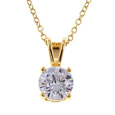 Absolute™ 1.5ctw CZ Gold-Plated Round Solitaire Pendant