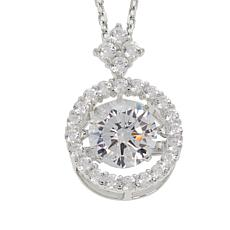 """Absolute™ 1.63ctw Dancing CZ Round Halo Pendant with 18"""" Chain"""