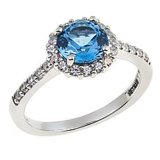 Absolute™ 1.89ctw Created Blue Spinel and Clear CZ Pavé Halo Ring