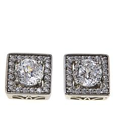 Absolute™ 2.10ctw CZ Sterling Silver Round Stone Square Stud Earrings