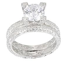 Absolute™  2.20ctw Cubic Zirconia Round Scroll 2-piece Bridal Ring Set