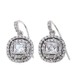 Absolute™ 2.4ctw Princess-Cut CZ Double Halo Earrings