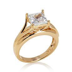 Absolute™ 2ctw Cubic Zirconia Gold-Plated Shank Ring