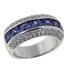 Absolute™ 3.34ctw CZ Tanzanite-Color and Clear Princess Band Ring