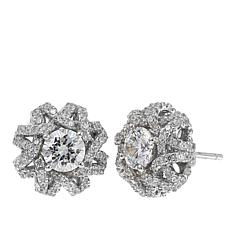 Absolute™ 3.40ctw CZ Sterling Silver Pavé Open Dome Stud Earrings