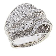 Absolute™ 3.45ctw CZ Sterling Silver Wide Crossover Pavé Ring