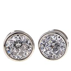 Absolute™ 3ctw CZ Sterling Silver Round Bezel-Set Stud Earrings
