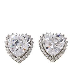 Absolute™ 4.24ctw CZ Sterling Silver 8mm Heart Halo Stud Earrings