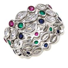 Absolute™ 4.41ctw Multicolor CZ and Created Ruby 3-piece Ring Set
