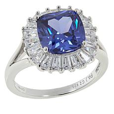 Absolute™ 4.50ctw CZ  Tanzanite-Color and Clear Cushion Frame Ring
