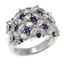 Absolute™ 4.72ctw CZ and Created Blue Sapphire Floral Dome Ring