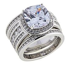 Absolute™  5.37ctw CZ Cushion with Channel Sides 3-piece Ring Set