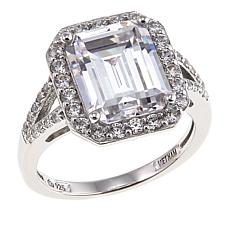 Absolute™ 5.64ctw CZ Sterling Silver Emerald-Cut Pavé Ring