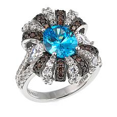 Absolute™ 5.94ctw CZ Sterling Silver Blue, Brown and Clear Ribbon Ring