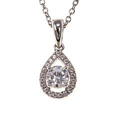 Absolute™ .60ctw CZ Clear Pear-Shaped Halo Pendant