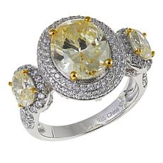 Absolute™ 6.10ctw CZ Canary and Clear 3-Stone Pavé Station Ring