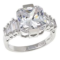 Absolute™ 6.16ctw CZ Sterling Silver Princess with Baguette Step Ring