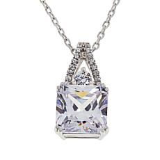 "Absolute™ 6.24ctw Princess-Cut Pavé Bail Pendant with 16"" Chain"