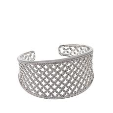 Absolute™ 7.54ctw CZ Sterling Silver Round Stone Lattice Cuff Bracelet