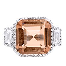 Absolute™ Champagne Square Center with Baguette and Pavé Sides Ring