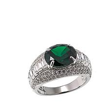 Absolute™ Cubic Zirconia and Simulated Emerald Oval Center Ring