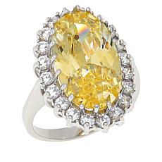 Absolute™  Cubic Zirconia Canary and Clear Oval Framed Halo Ring