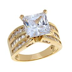 Absolute™ Cubic Zirconia Gold-Plated Princess-Cut 3-Row Solitaire Ring