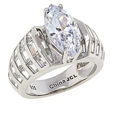 Absolute™  Cubic Zirconia Marquise and Emerald-Cut Shoulders Ring