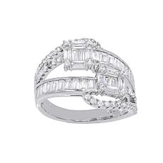 Absolute™ Cubic Zirconia Multi-Cut Bypass-Inspired Ring