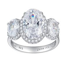 Absolute™  Cubic Zirconia Oval 3-Stone Halo Engagement Ring
