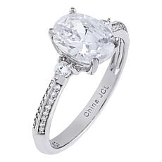 Absolute™ Cubic Zirconia Oval and Round 3-Stone Pavé Engagement Ring