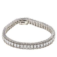 Absolute™ Cubic Zirconia Princess and Round 3-Row Tennis Bracelet