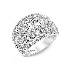 Absolute™ Cubic Zirconia Princess with Round Sides Multi-Row Ring