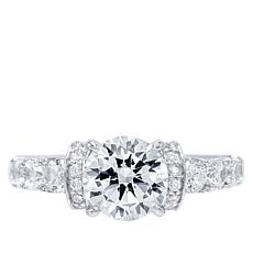 Absolute™ Cubic Zirconia Round Center with Collared Shoulders Ring