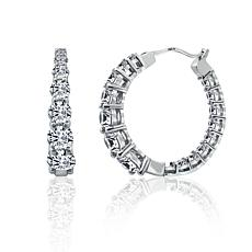 Absolute™ Cubic Zirconia Round Stone Frontal Hoop Earrings