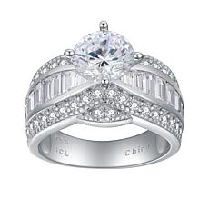 Absolute™ Cubic Zirconia Round with Baguette and Round Sides Ring