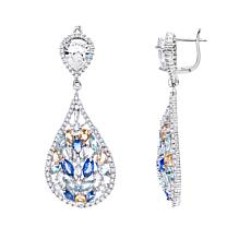 Absolute™ CZ and Simulated Gemstone Pear Cluster Drop Earrings