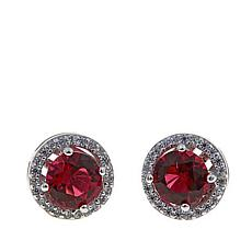 Absolute™ CZ and Simulated Ruby Sterling Silver Halo Stud Earrings