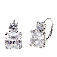 Absolute™ CZ Sterling Silver Cushion and Round Leverback Earrings