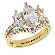 Absolute™ Gold-Plated 3-Stone Marquise 2-piece Ring Set