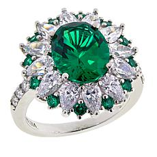 Absolute™ Green Stone and Clear CZ Starburst Ring