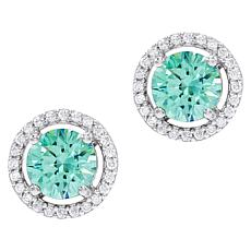 Absolute™ Simulated Colored Gemstone Halo Stud Earrings
